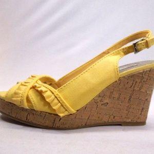 Yellow Wedge Sandals Sz 6.5